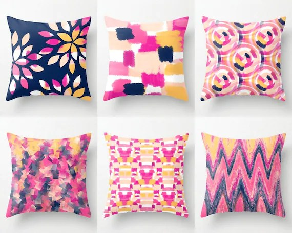 Hot Pink Navy Pillow Covers Pink Navy Orange Peach Mix And