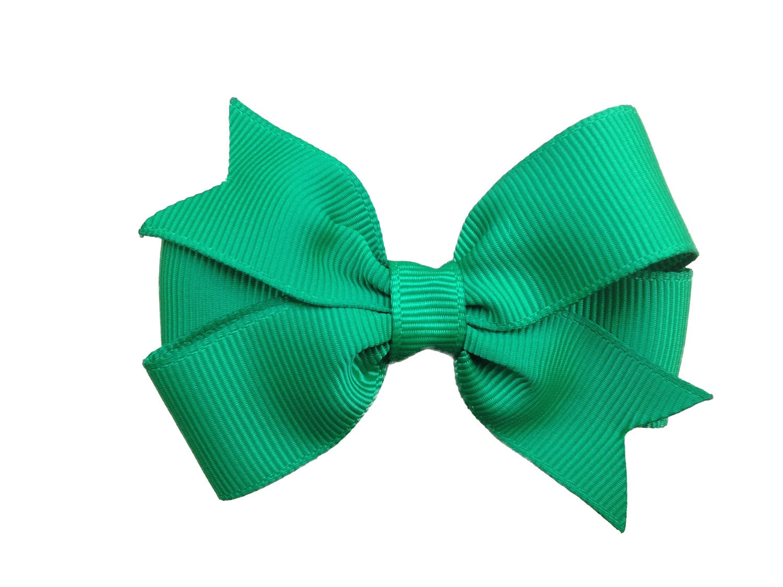 3 green hair bow toddler