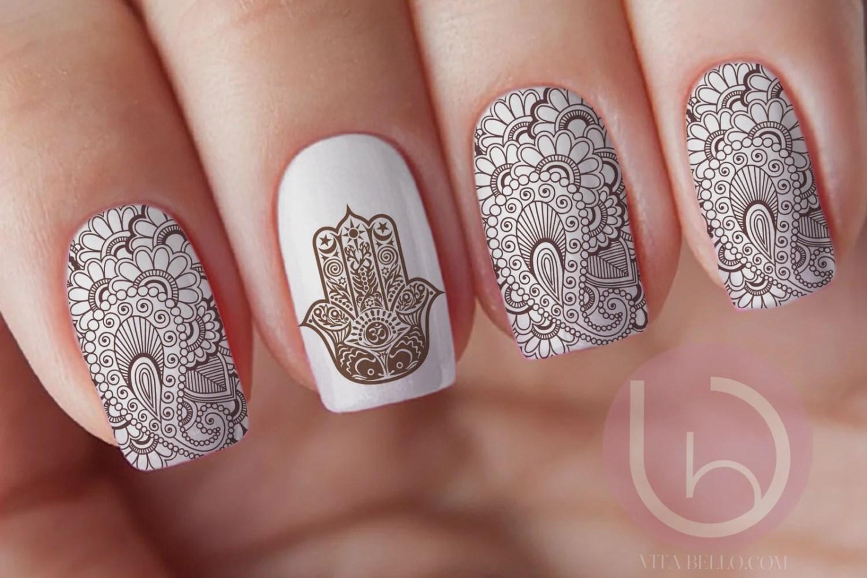 henna nail waterslide decal