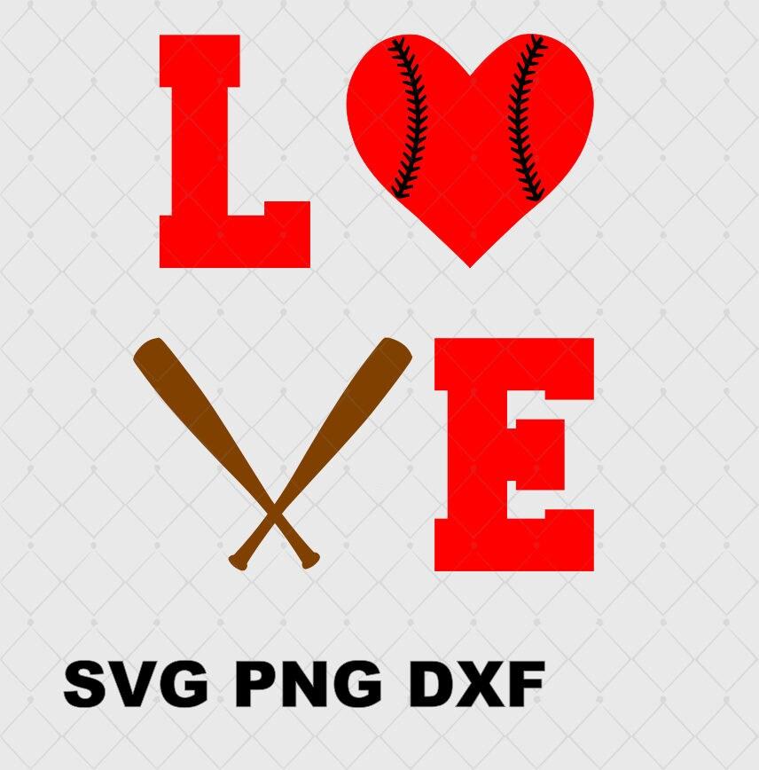 Download Love Baseball Bat Heart Svg Png and SVG DxF File Instant