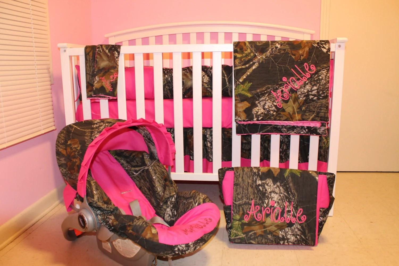 7pc Camo Mossy Oak Fabric & Pink Crib Bedding Nursery Set