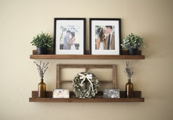 Rustic Wooden Ledge Shelf Shelves