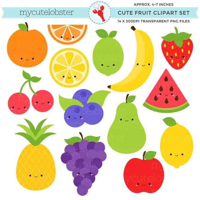 cute fruit clipart set clip art