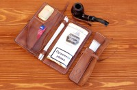 Personalized Leather Pipe & Tobacco Pouch Pipe Roll Leather