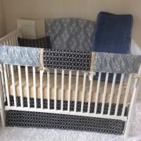 Baby Boy Crib Bedding Set Taupe Denim Blue Navy Cream Tribal