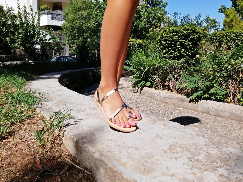 Barefoot Sandals Gold Color Greek Flat Leather