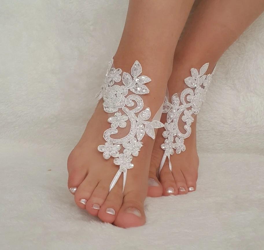 White Lace Barefoot Wedding Sandal