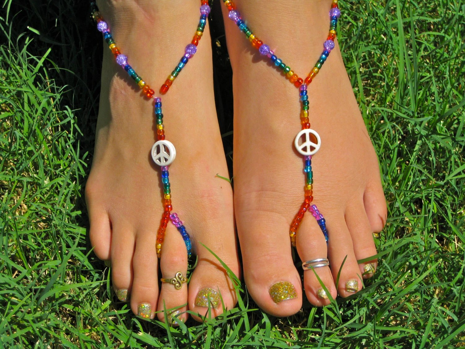 Rainbow Peace Sign Barefoot Sandals Slave Anklet Foot Thong