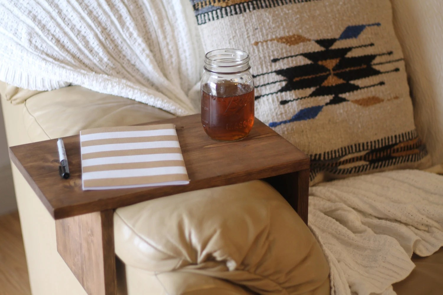 sofa arm tray wood crypton uk rustic rest table couch