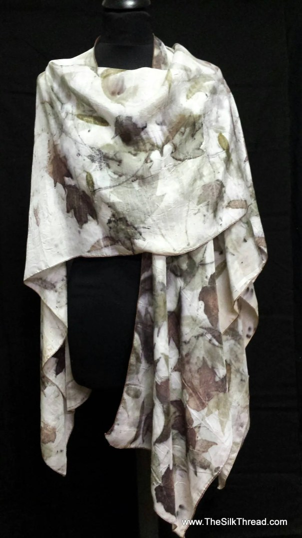 Eco-printed Natural Silk Wrap, Cape,Shawl, Organic Leaf Designs of Bronze & Green, Handcrafted by artist, Fits All Sizes, FREE Ship USA