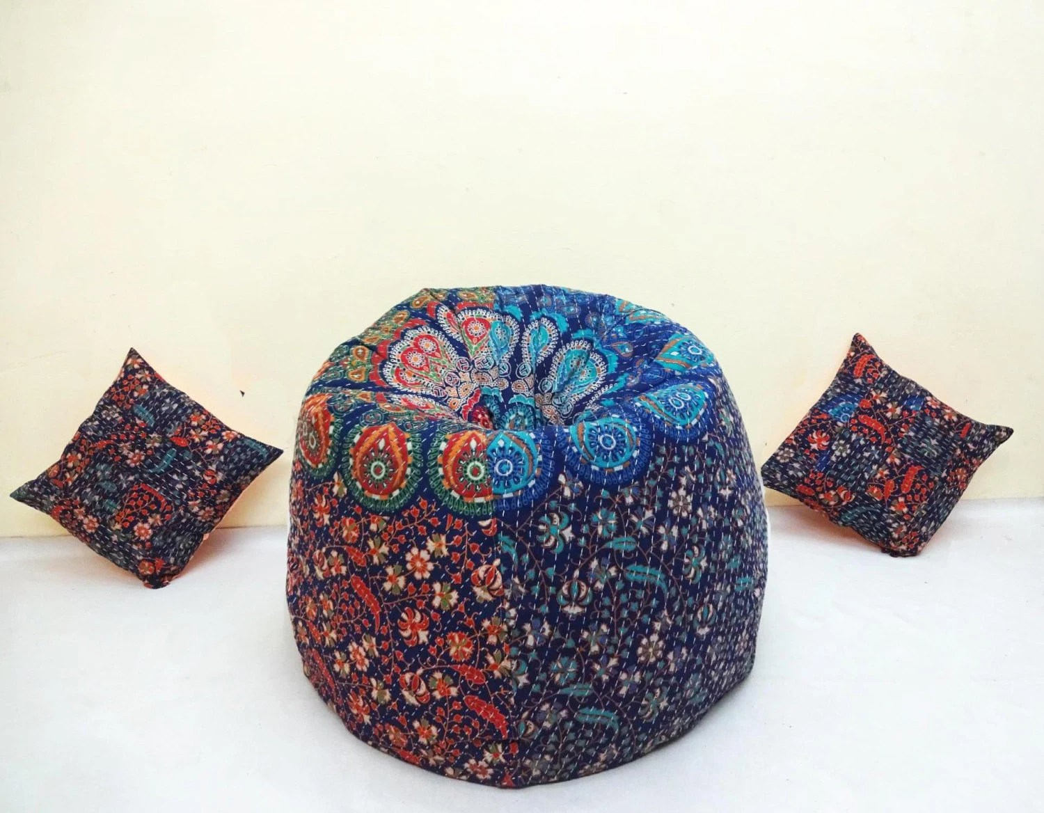 bean bag chair refill beads louis xvi dining chairs handmade printed cotton slipcover and insert floral