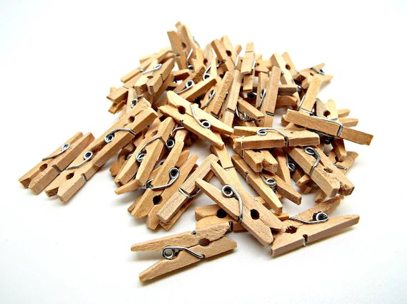 50 Natural Wooden Pegs