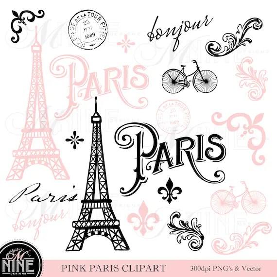 pink paris clip art theme