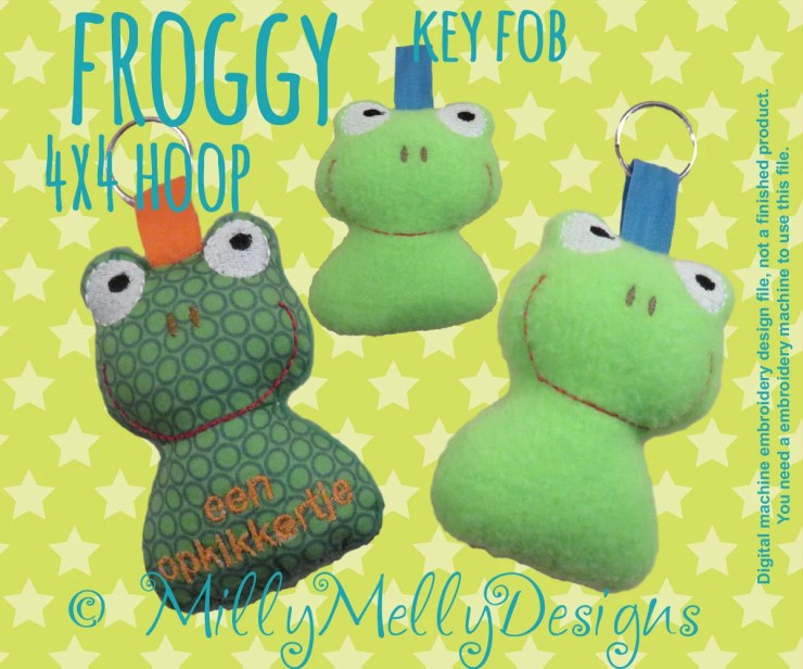 Froggy key fob - 4x4  hoop - ITH - Machine Embroidery Design File, digital download