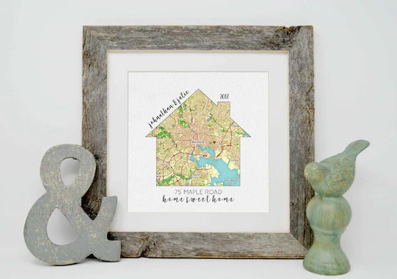 Housewarming Gift Our First Home House Map First Home Gift