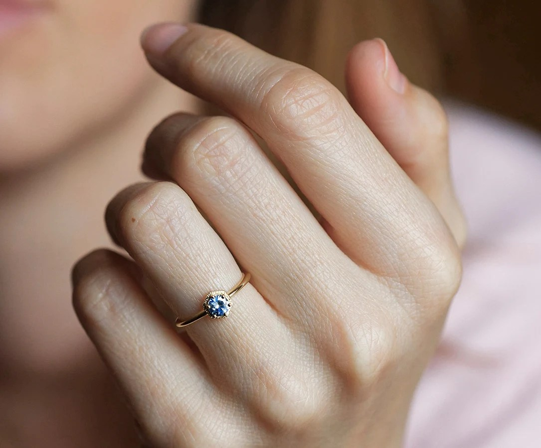 Bicolor Sapphire Ring Gold Sapphire Ring Blue Sapphire Ring