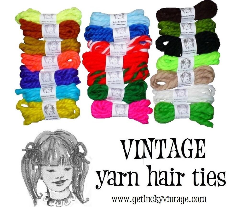 retro vintage yarn hair ties