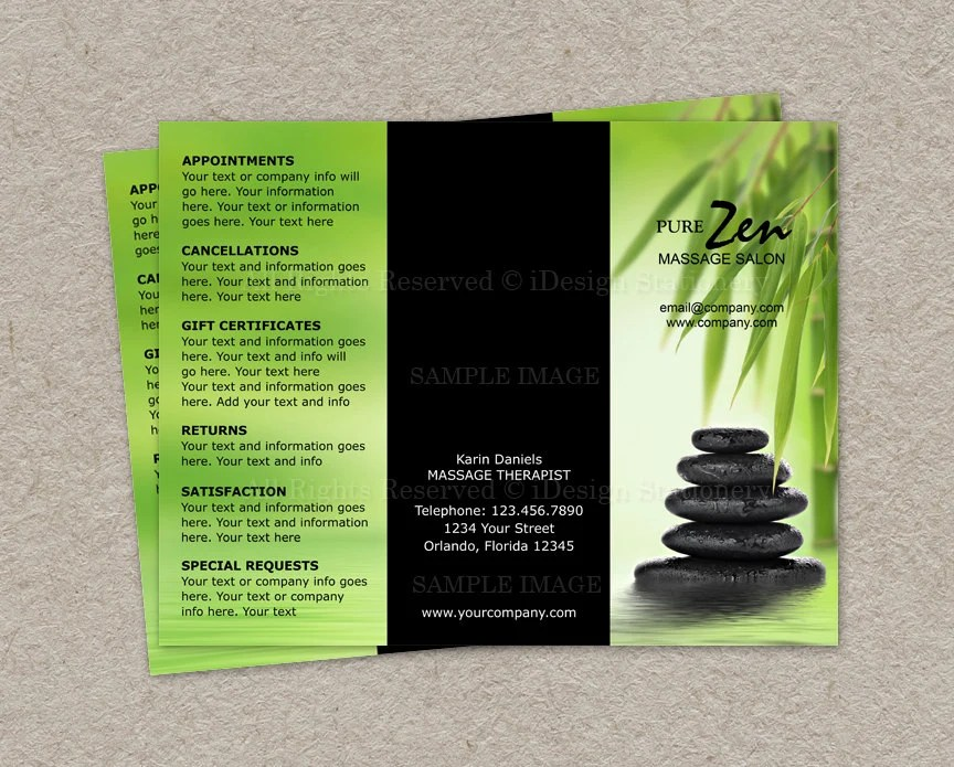 Items Similar To Massage Business Brochure Design Custom Brochure