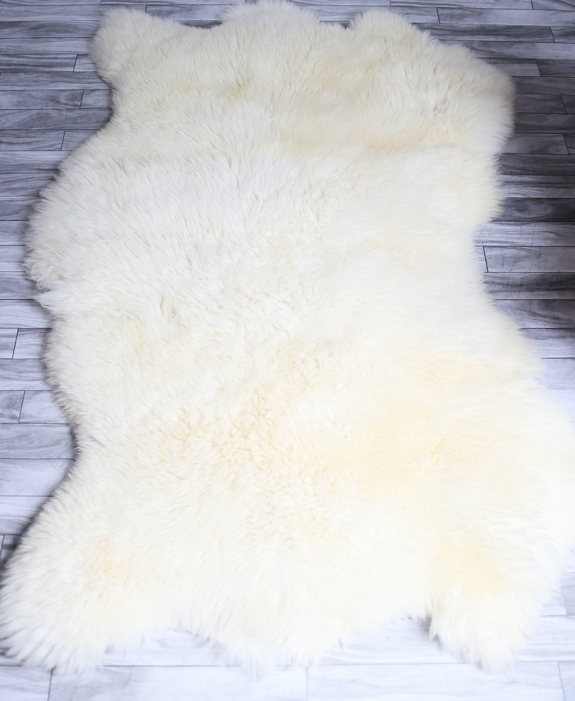 sheepskin rug on chair custom upholstered chairs sale triple white shaggy