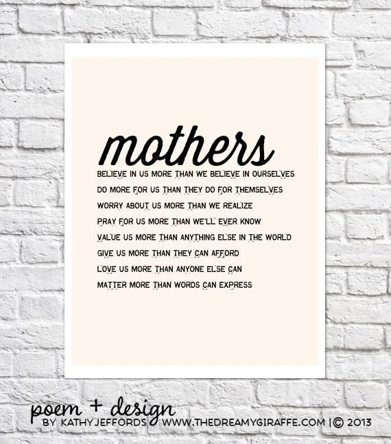 Mothers Day From Daughter Mom Poem Typographic Print Mother In
