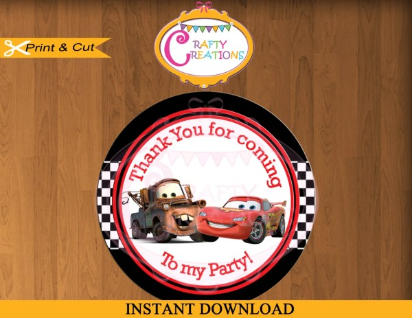 Disney Cars Favor Tag Label Printable Birthday Party
