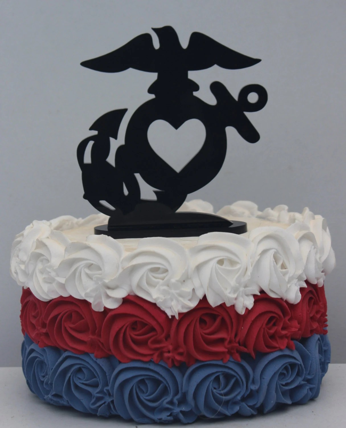 Military USMC Marine Corps Heart Wedding Cake Topper Groom