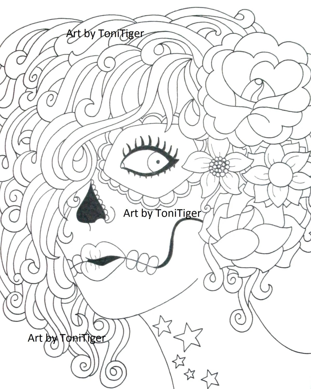 Instant Digital Download Coloring Page Sugar Skull Girl