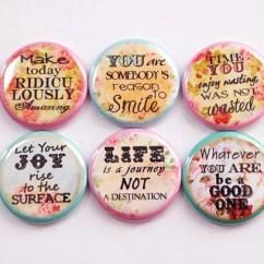 Kitchen Magnets Black And White Tile Backsplash Fridge Magnet Flowers Floral Inspirational Words Of Wisdom Button