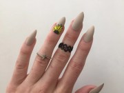 neon daisy accent nails matte