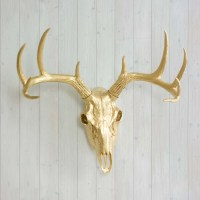 Gold Faux Deer Skull by Wall Charmers Faux Taxidermy Decor
