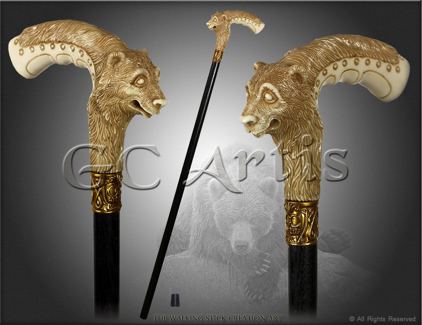 Grizzly Bear Light Ivory Color Walking Stick Cane Hand Casted