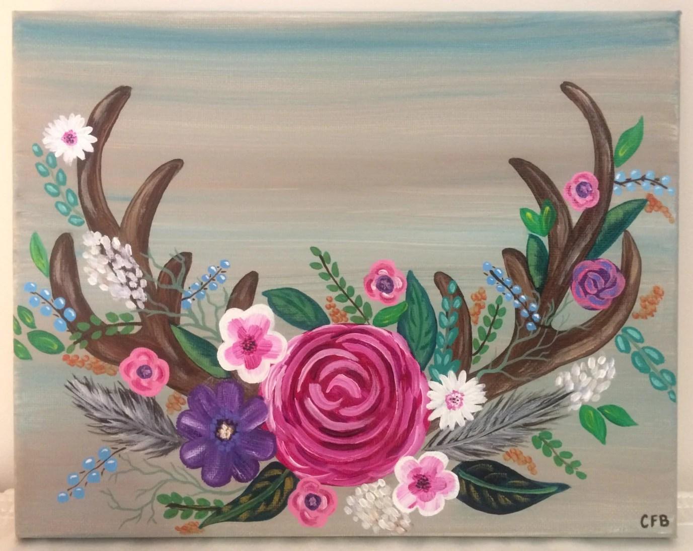 Cute Wallpaper Floral Rustic Antler Flower Wreath Painting 8x10 Canvas Deer Art