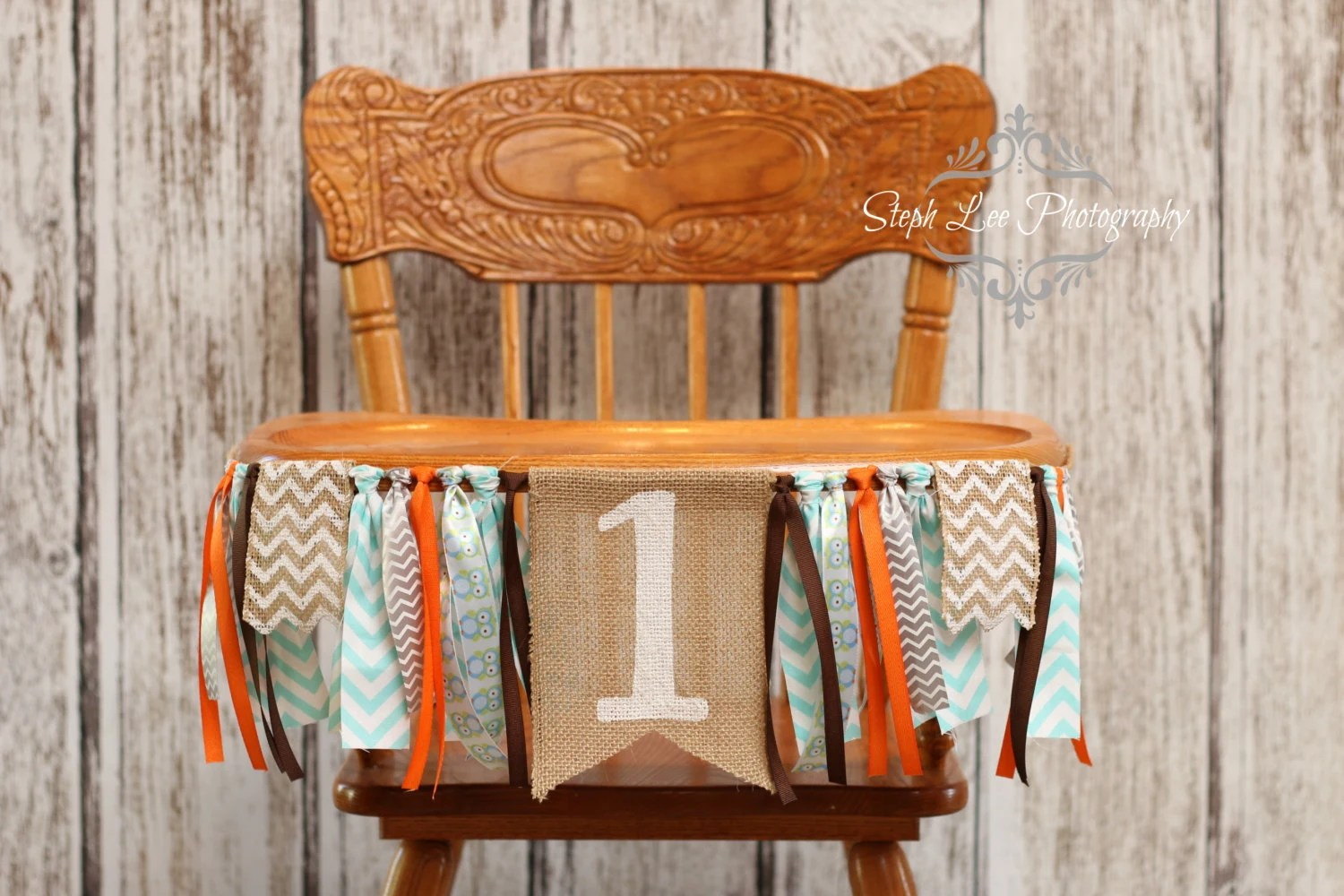 owl high chair mothercare fancy covers for weddings woodland burlap banner 1st birthday
