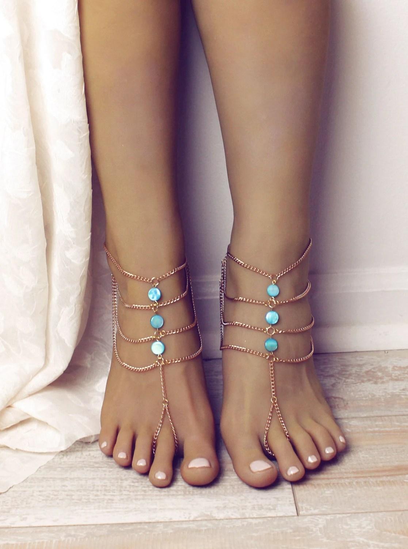 Turquoise Barefoot Sandals Gold Boho Anklet