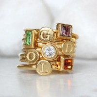 Gold Stacking Rings for Mom. Gold Mothers Ring Set of 8