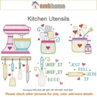 Kitchen Utensils Cooking Tools Machine Embroidery Designs
