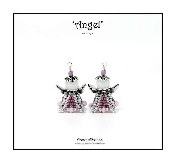 Bead pattern beaded Angel earrings ornament with seed beads