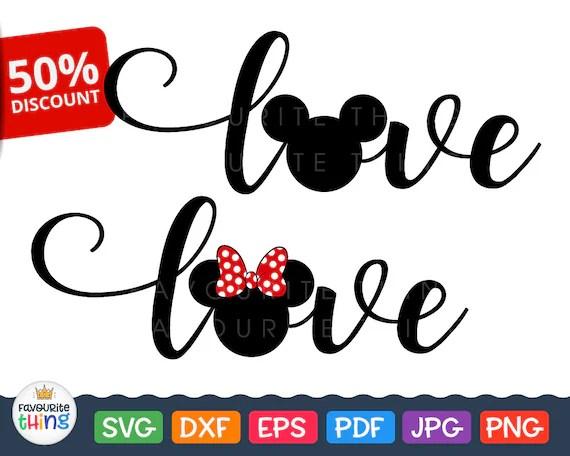Download Love Wording Svg Disney Love Svg Mickey Minnie Designs cut