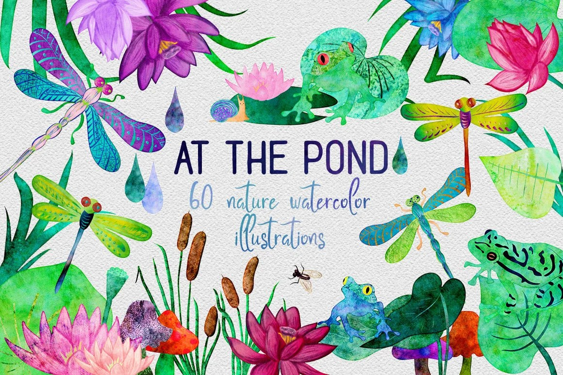 watercolor frogs & dragonfly pond