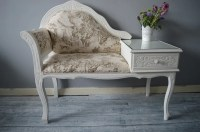 Shabby Chic Vintage Telephone Seat Chair Table Chaise Longue