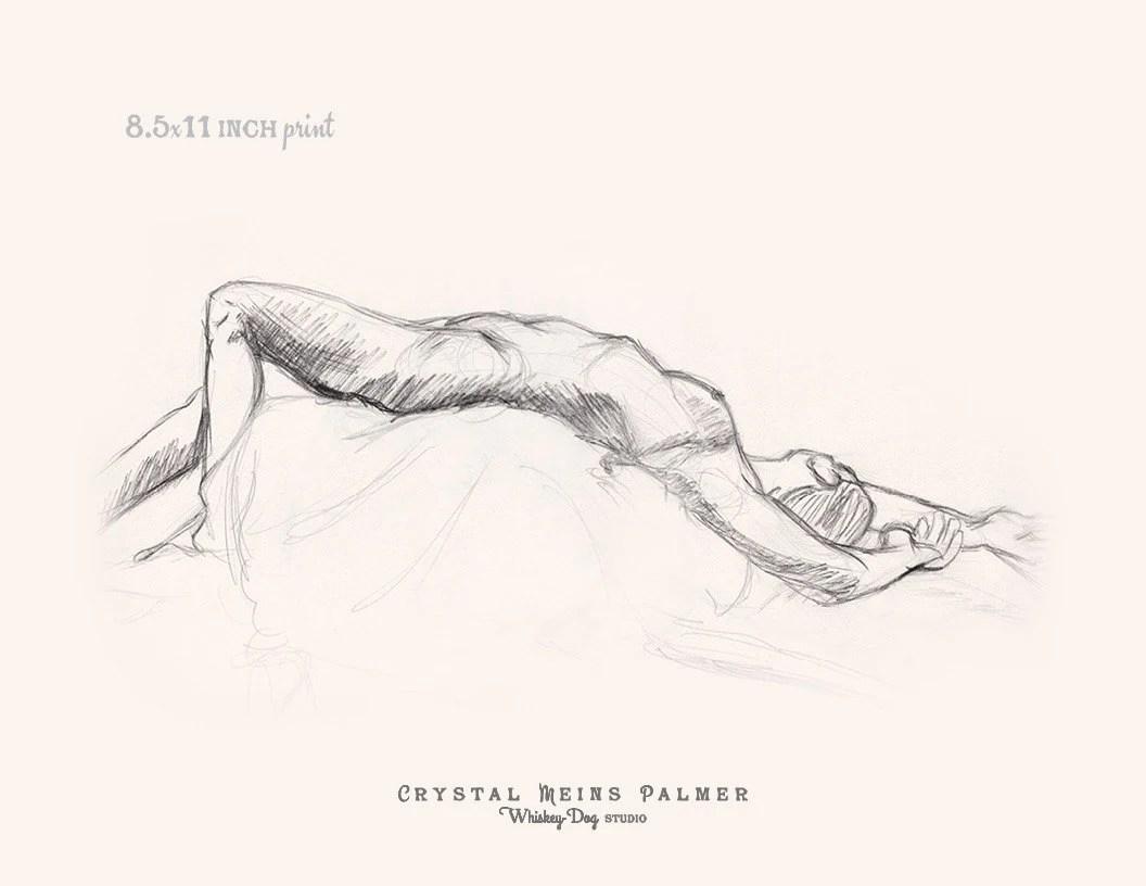 Charbon de bois au crayon dessin de femme nue couchée face