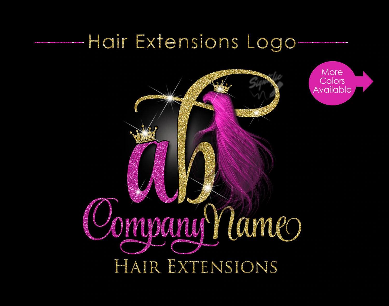 hair extensions business logo glitter