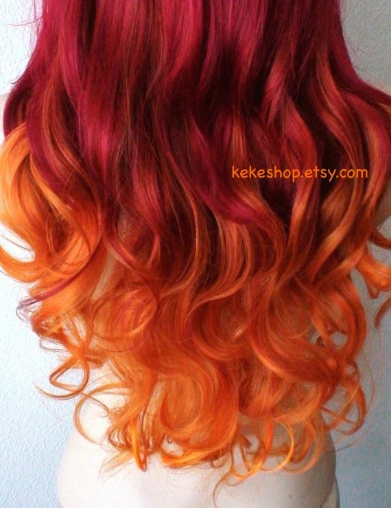 wig. pastel wine red orange ombre