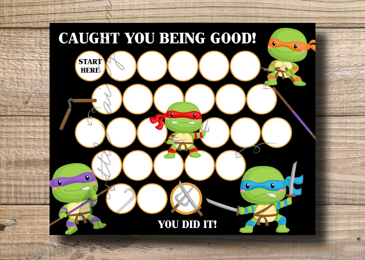 Kids Reward Chart Ninja Turtle Reward Chart Printable