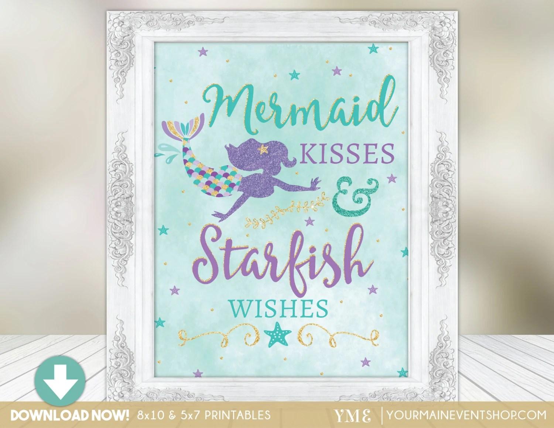 Mermaid Party Sign Mermaid Kisses Amp Starfish Wishes