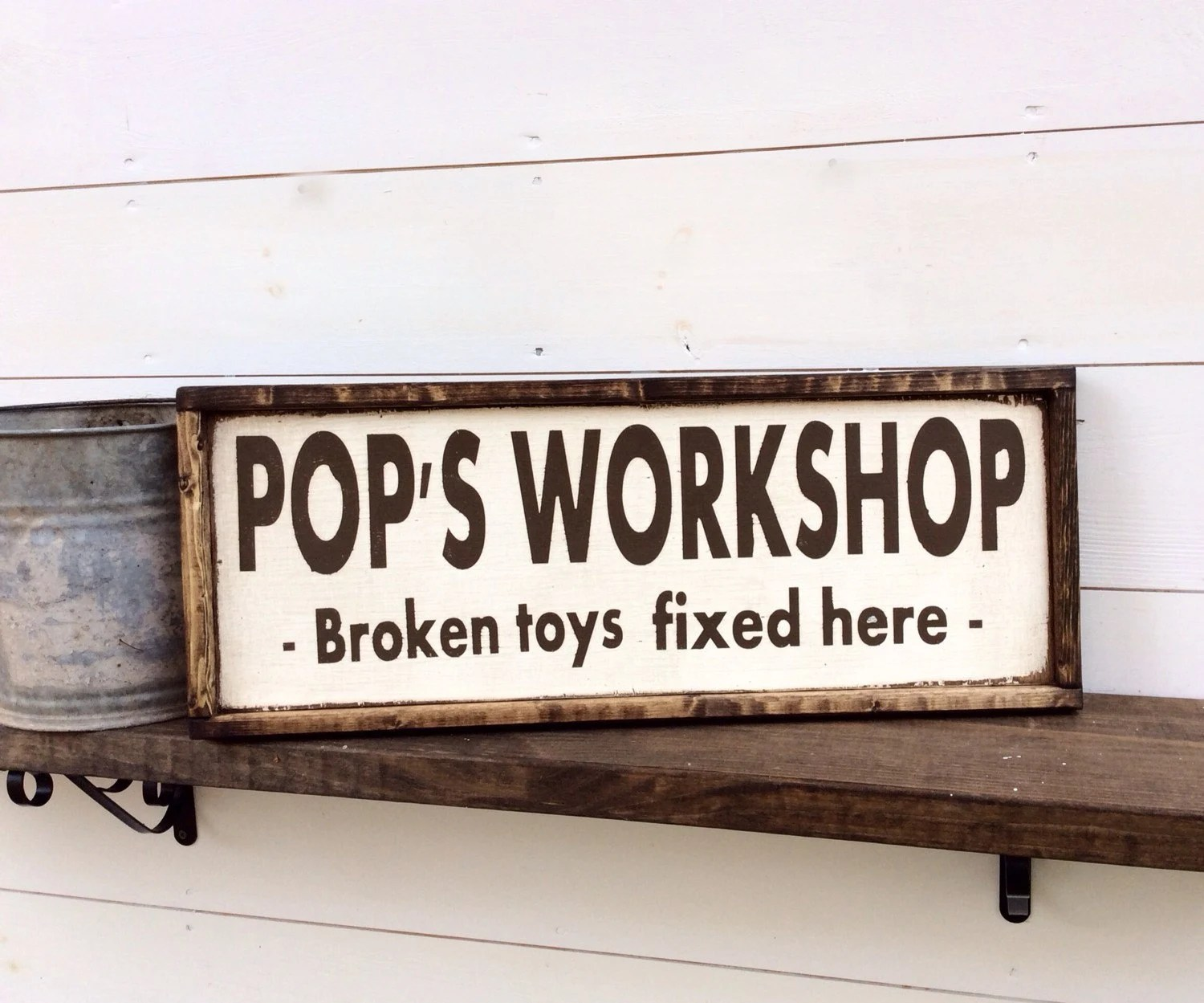 Pops Workshop Sign Toy Repair Man Cave Fathers Day