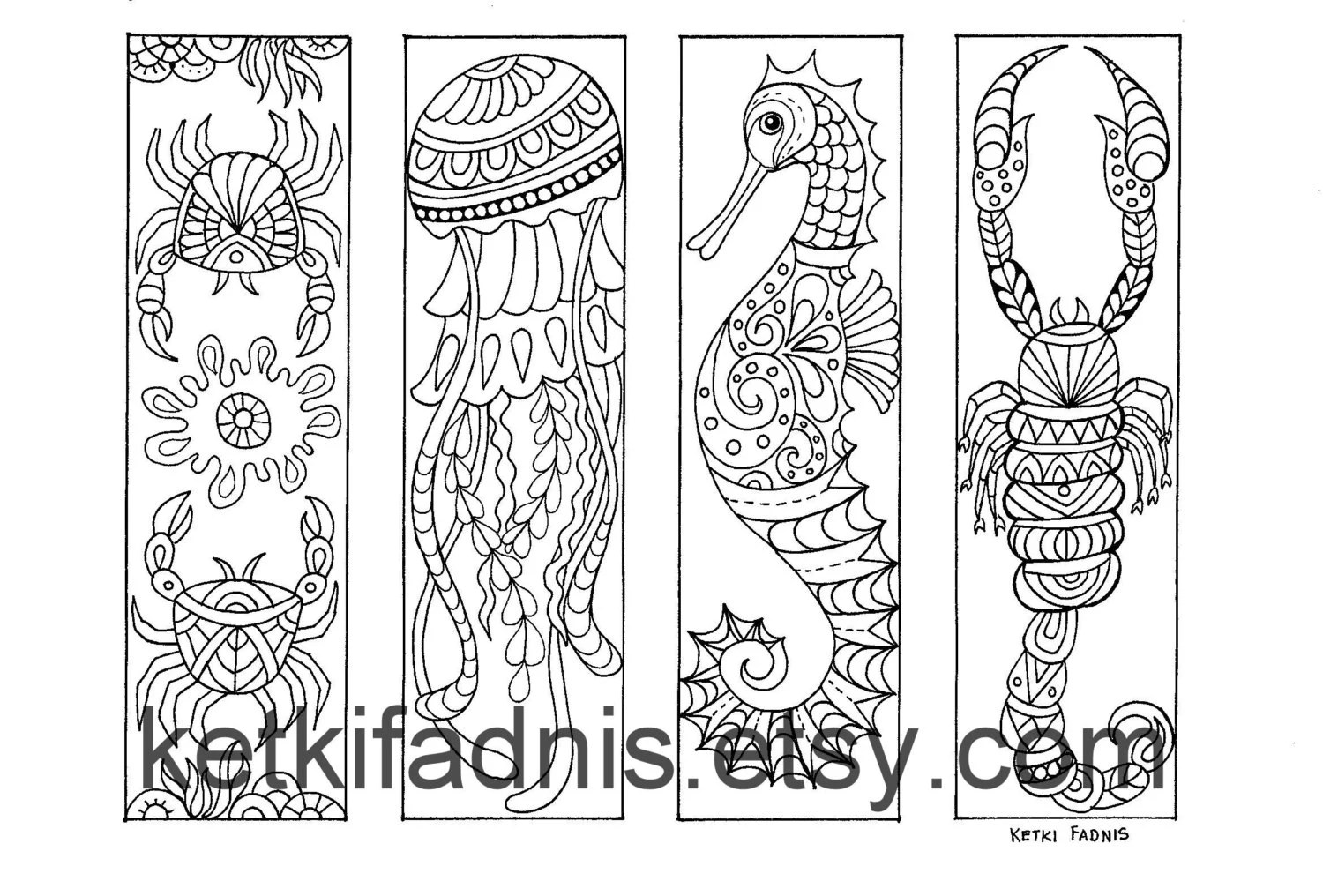 Coloring Bookmarks Sea Creatures Bookmarks Coloring Page