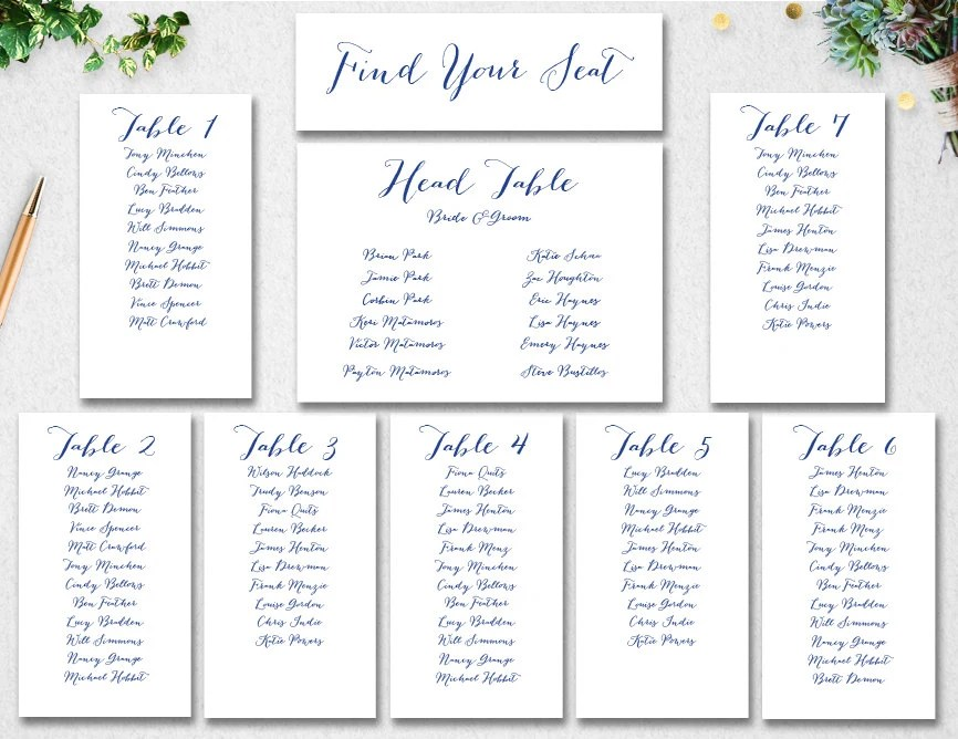 Wedding Seating Chart Template INSTANT DOWNLOAD // Editable