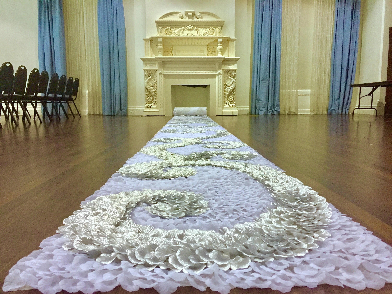 Snow Queen-silver Wedding Aisle Runner White & Silver Swirl