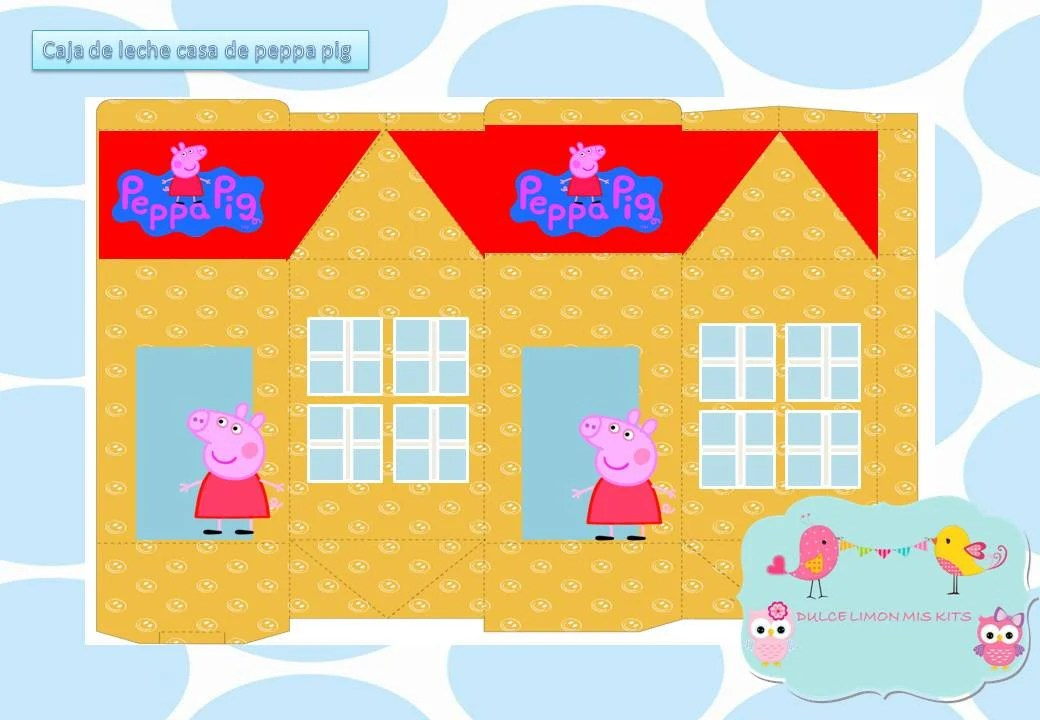 caja de leche casa de peppa pig